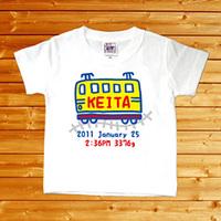 【スケッチブック でんしゃ 名前入りベビーTシャツ】(半袖・ホワイト)