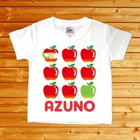 【りんご 名前入りベビーTシャツ】(半袖・ホワイト)