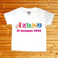 【アルファベット 名前入りベビーTシャツ】(半袖・ホワイト)