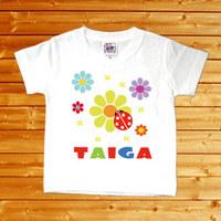 【テントウムシ 名前入りベビーTシャツ】(半袖・ホワイト)