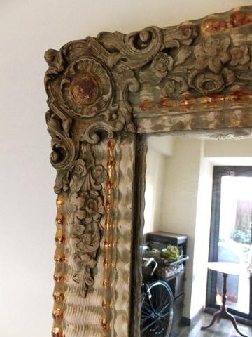 Mirror in wooden frame (White) - 木製フレーム入り鏡 ミラー -